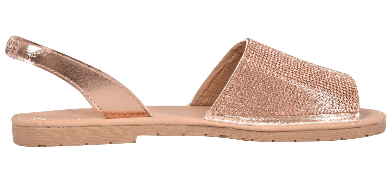 Truffle-Ladies-Menorcan-Sandals-Slingback-Flat-Glitter-Peep-Toe-Spanish-Shoes thumbnail 12