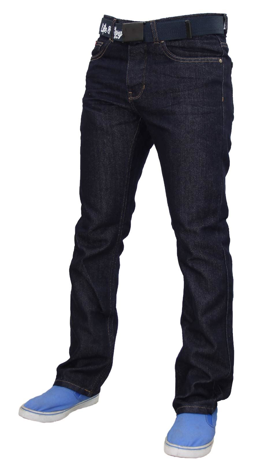 Mens-Regular-Fit-Jeans-Straight-Leg-Denim-Pants-Casual-Trousers-With-Free-Belt thumbnail 14