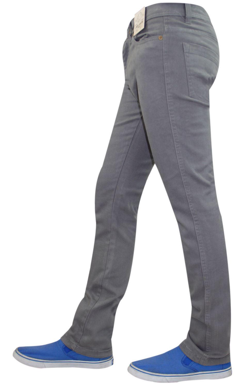 Mens-Jeans-Ajustados-Slim-Fit-Denim-Sarga-de-algodon-elastico-Pantalones-Chinos-Pantalones miniatura 9