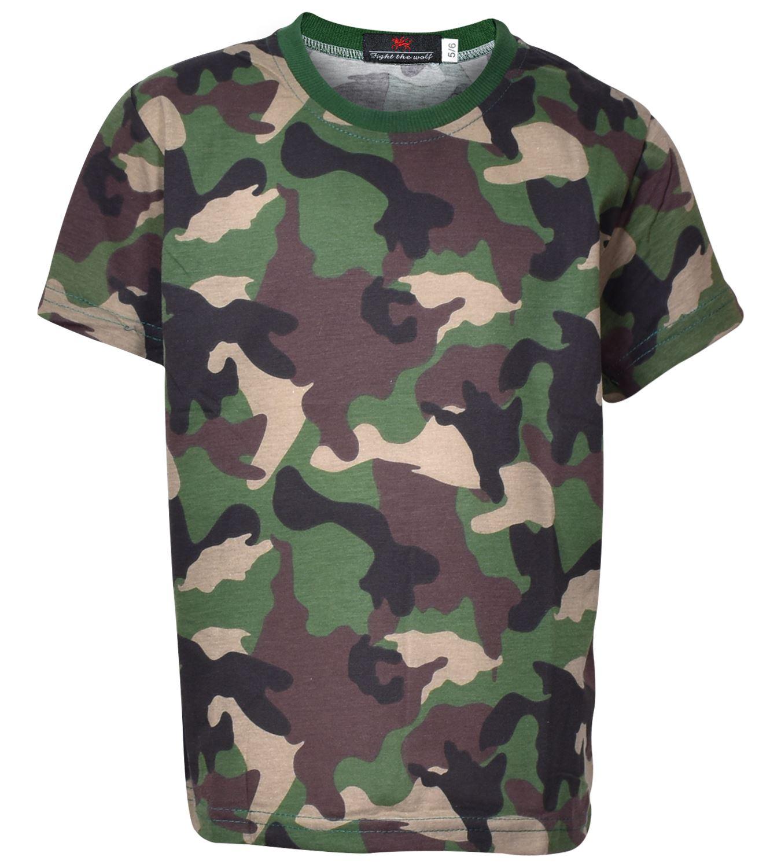 Men/'s Camouflage T-shirt Boys Army Print Top Fancy Dress Parties Camo T-shirt