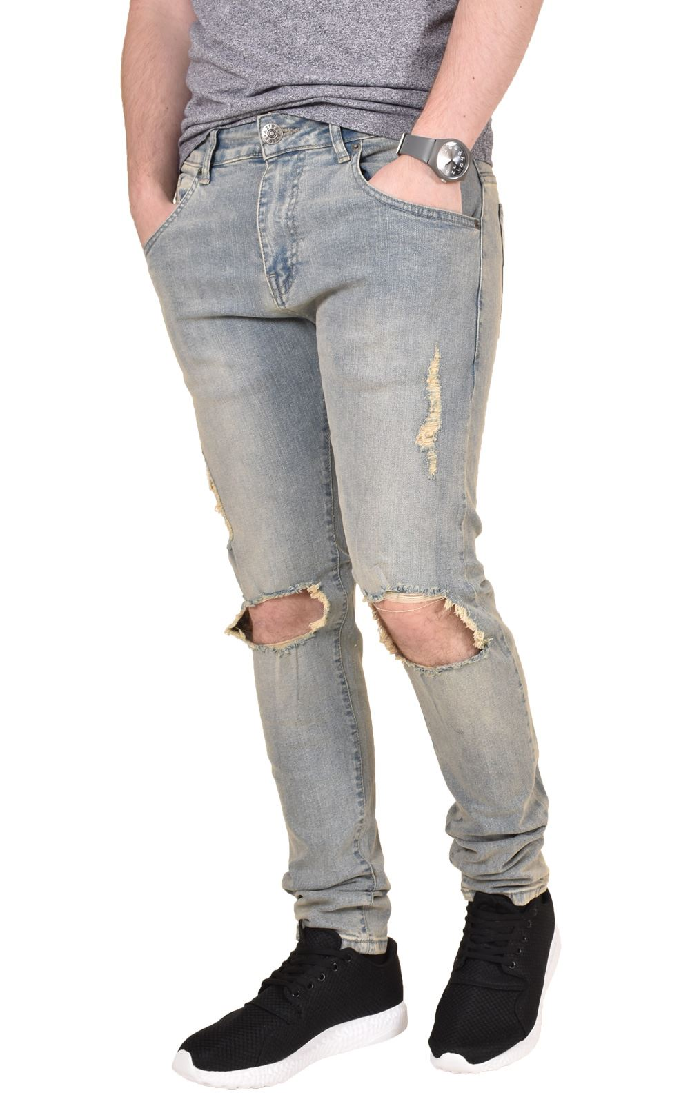 Mens-Ripped-Jeans-Skinny-Slim-Fit-Stretch-Distressed-Denim-Pants-Trousers-28-40 thumbnail 8