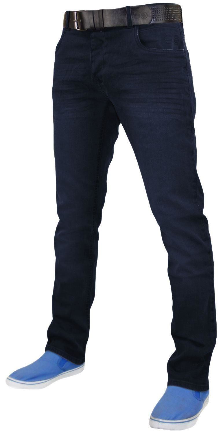 Crosshatch-Mens-Denim-Jeans-Straight-Fit-Stretch-Cotton-Trousers-Pants-Free-Belt thumbnail 7