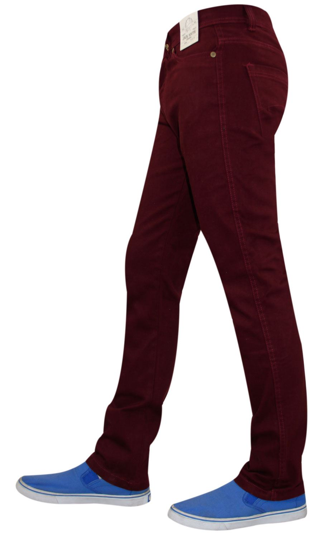 Mens-Jeans-Ajustados-Slim-Fit-Denim-Sarga-de-algodon-elastico-Pantalones-Chinos-Pantalones miniatura 6