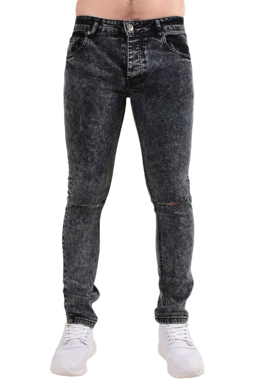 Mens-Ripped-Skinny-Jeans-Super-Stretch-Slim-Fit-Denim-Pants-Black-Trousers-28-38 thumbnail 3