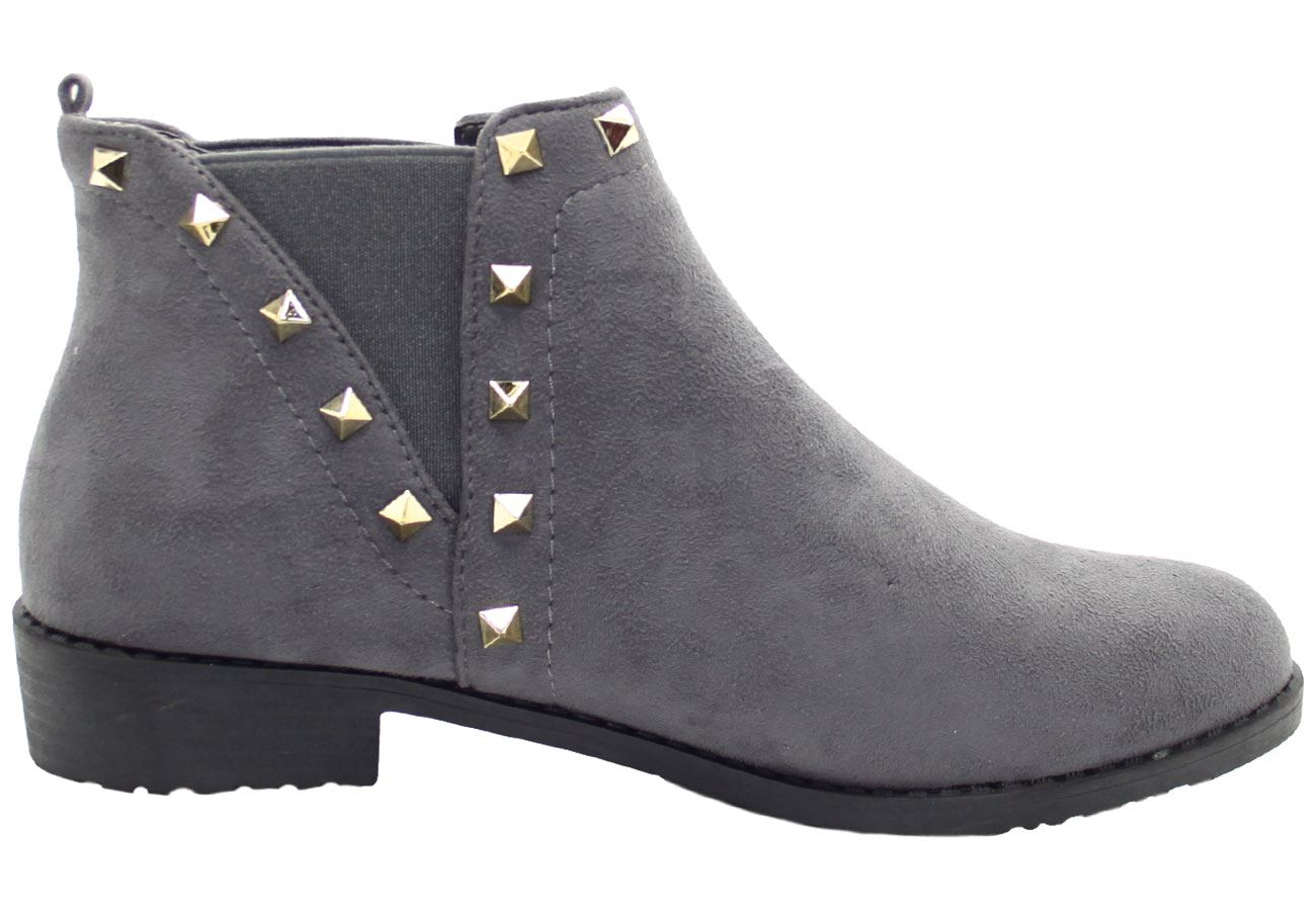 New-Women-Chelsea-Ankle-Boots-Winter-Block-Heel-Ladies-Biker-Style-Boots thumbnail 53