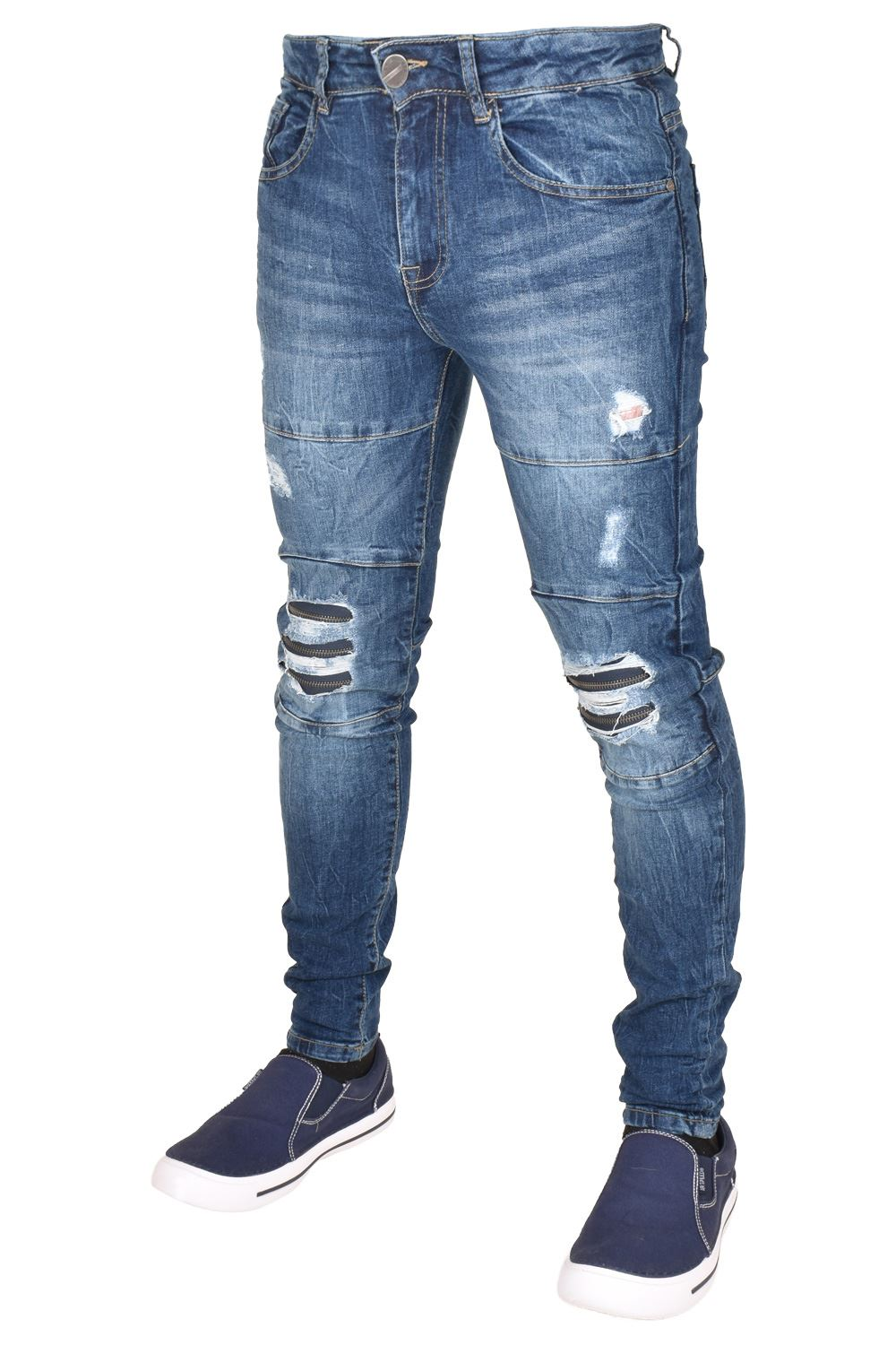 Enzo-Mens-Ripped-Jeans-Skinny-Slim-Fit-Denim-Pants-Casual-Trousers-Size-28-40 thumbnail 8