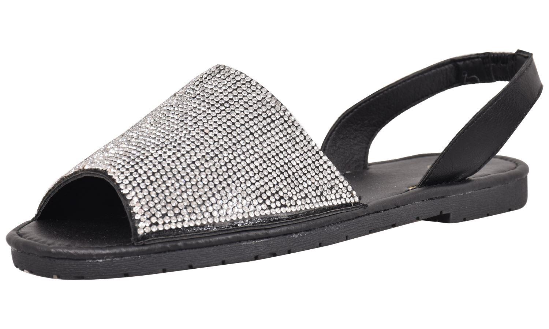 Truffle-Ladies-Menorcan-Sandals-Slingback-Flat-Glitter-Peep-Toe-Spanish-Shoes thumbnail 9