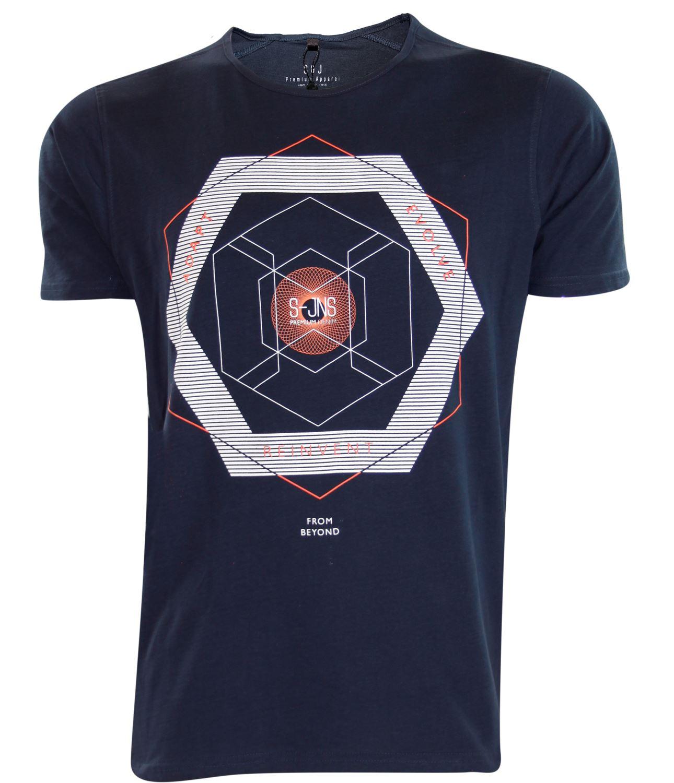 Nouvelle-Mens-Smith-et-Jones-Graffic-Print-rond-haut-Design-decontracte-T-Shirt-encolure