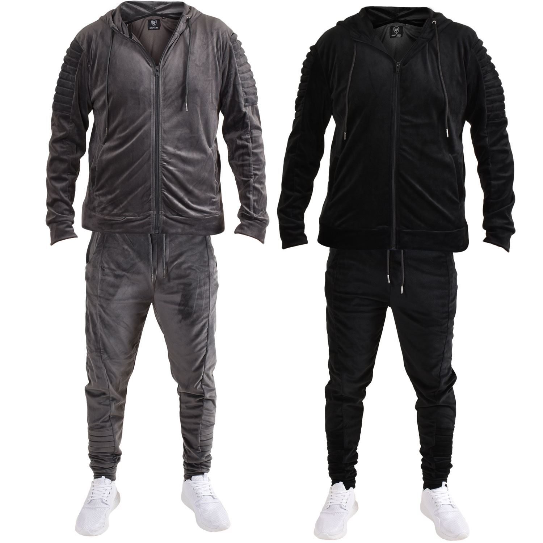 Mens Hoodies Fleece Soft Velvet Top Jacket Jogger Trouser Bottoms Tracksuit