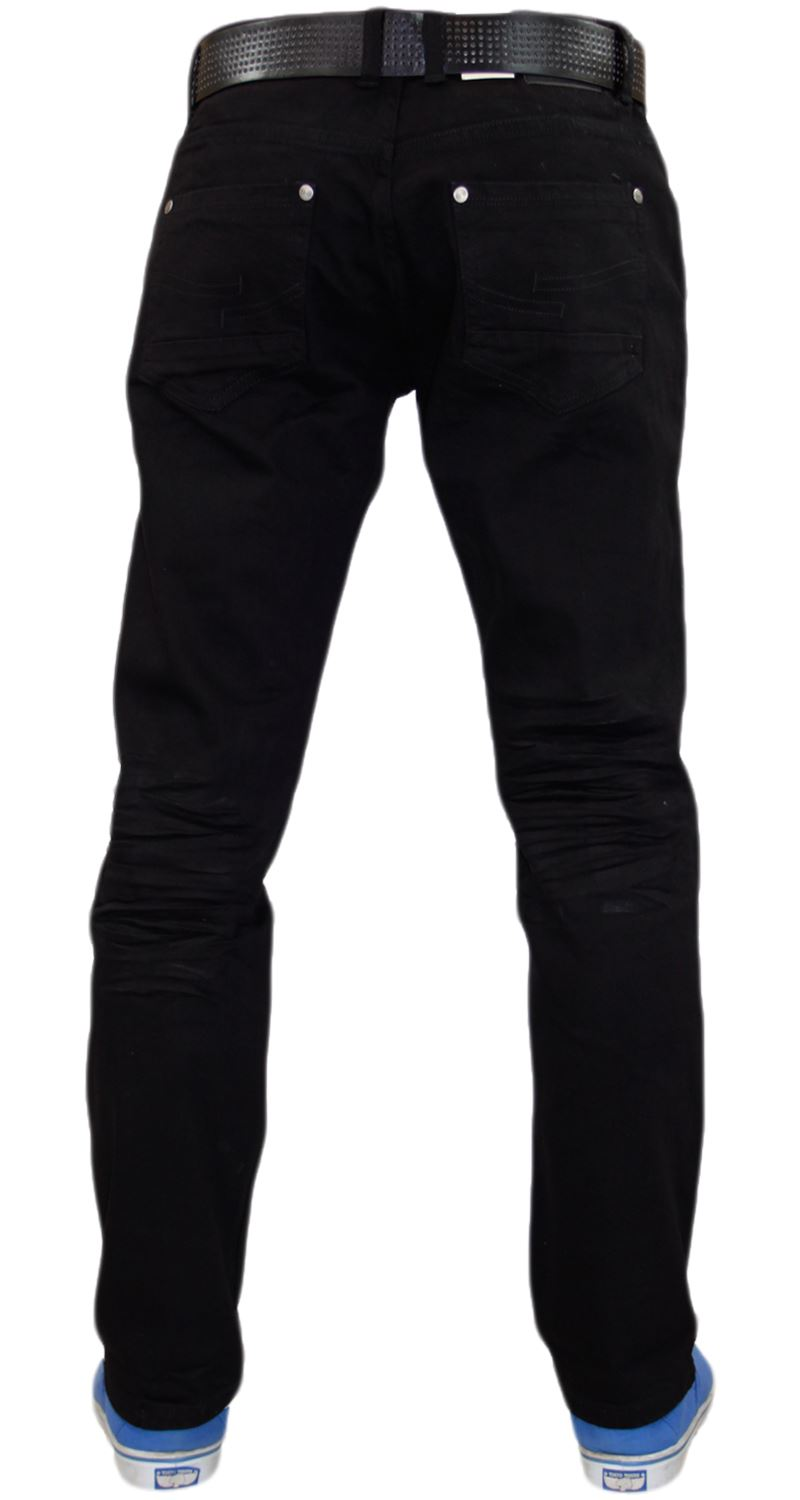 Crosshatch-Mens-Denim-Jeans-Straight-Fit-Stretch-Cotton-Trousers-Pants-Free-Belt thumbnail 5