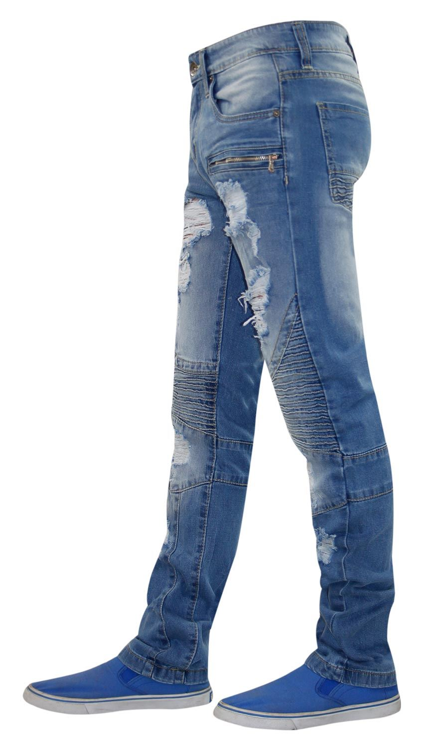 Mens-Ripped-Jeans-Slim-Fit-Distressed-Denim-Biker-Pants-Casual-Cuffed-Trousers thumbnail 3