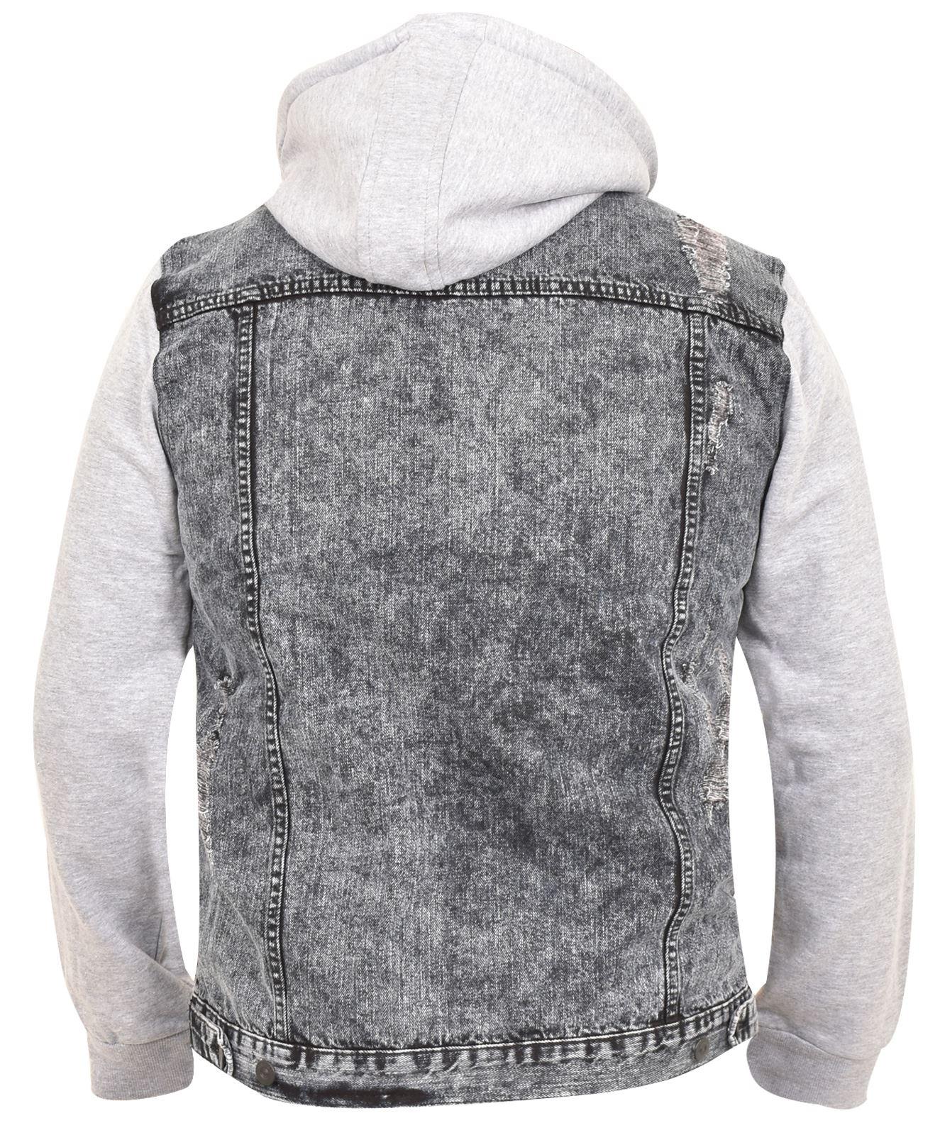 4df094e127ea Mens Denim Jean Jacket Hooded Black Button Branded Collar 100 ...