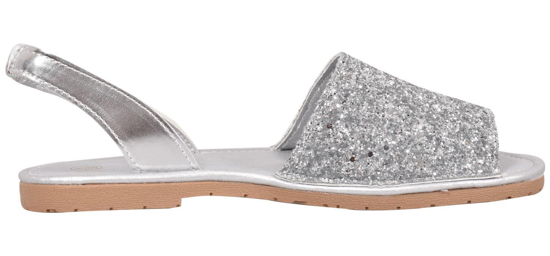 Truffle-Ladies-Menorcan-Sandals-Slingback-Flat-Glitter-Peep-Toe-Spanish-Shoes thumbnail 7