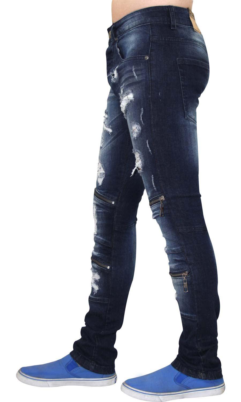 Para-Hombre-Biker-Skinny-Jeans-lealtad-amp-Faith-Slim-Fit-Pantalones-Ajustados-Pantalones-rasgada miniatura 14