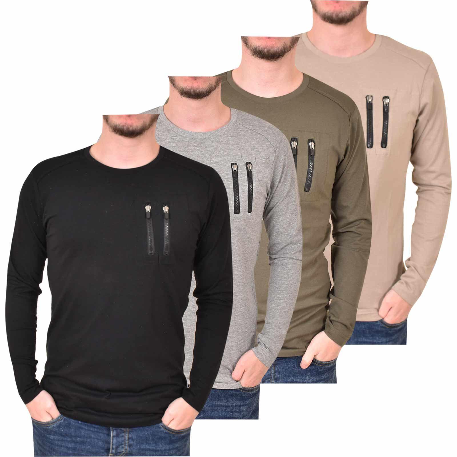 cff373f44436 Details about Mens Long Sleeve T-Shirt Crew Neck Zip Pocket Cotton Regular  Tee Loyalty   Faith