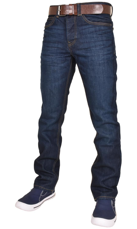 Crosshatch-Men-Jeans-Regular-Straight-Leg-Open-Hem-Trousers-Pants-With-Free-Belt thumbnail 3