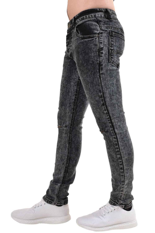 Mens-Ripped-Skinny-Jeans-Super-Stretch-Slim-Fit-Denim-Pants-Black-Trousers-28-38 thumbnail 4