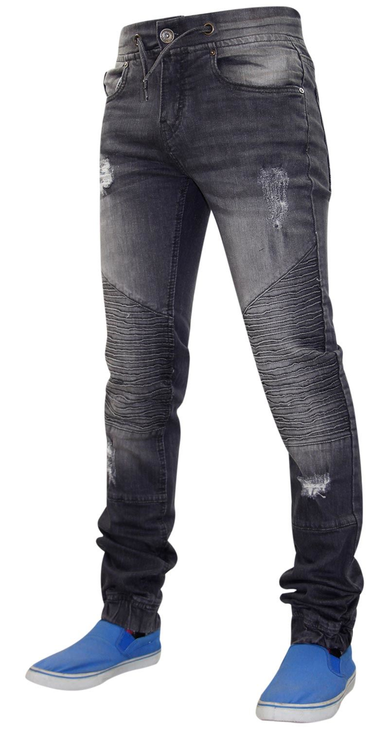 Mens-Ripped-Jeans-Slim-Fit-Distressed-Denim-Biker-Pants-Casual-Cuffed-Trousers thumbnail 16