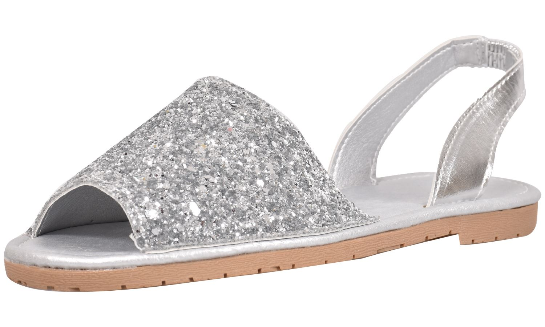 Truffle-Ladies-Menorcan-Sandals-Slingback-Flat-Glitter-Peep-Toe-Spanish-Shoes thumbnail 6