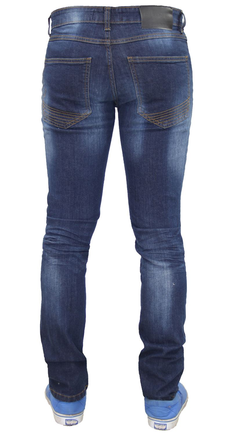 Mens-Skinny-Stretch-Ripped-Jeans-Slim-Fit-Casual-Trousers-Denim-Pants-All-Sizes thumbnail 9