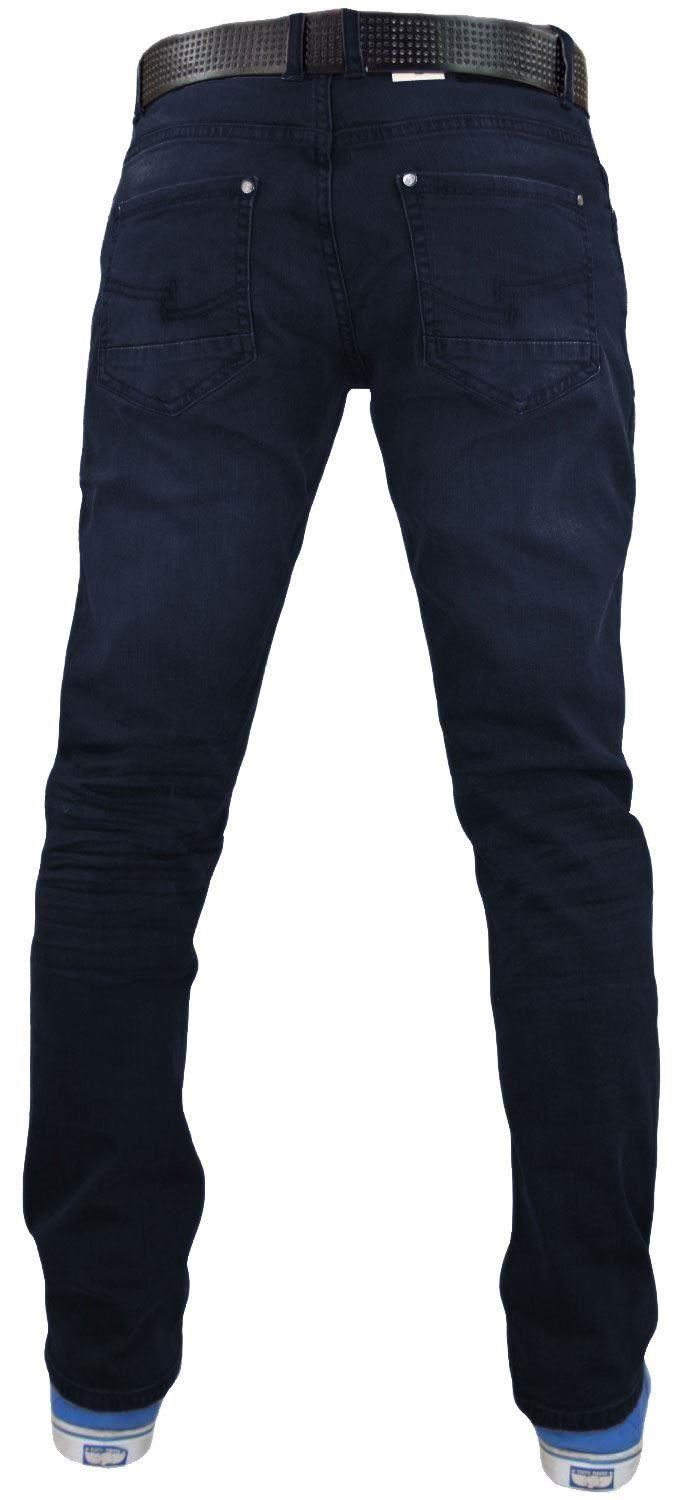 Crosshatch-Mens-Denim-Jeans-Straight-Fit-Stretch-Cotton-Trousers-Pants-Free-Belt thumbnail 10