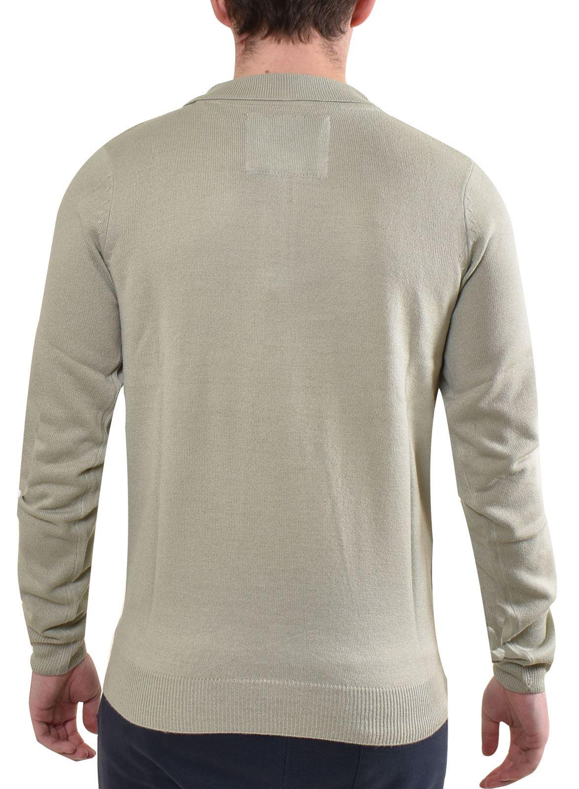 Mens Polo Tee Shirt Long Sleeves Cotton Plain Regular Fit Ribbed Cuff Top