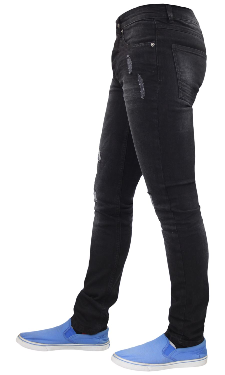 Mens-Skinny-Stretch-Ripped-Jeans-Slim-Fit-Casual-Trousers-Denim-Pants-All-Sizes thumbnail 4