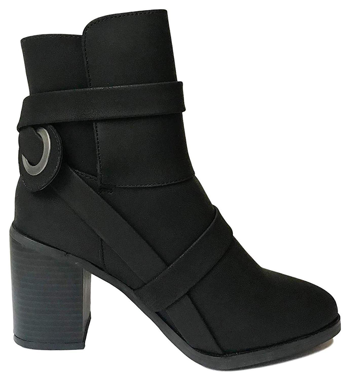 New Ladies Western Style Ankle Boots Womens Mid Block Heel Biker Black Boots