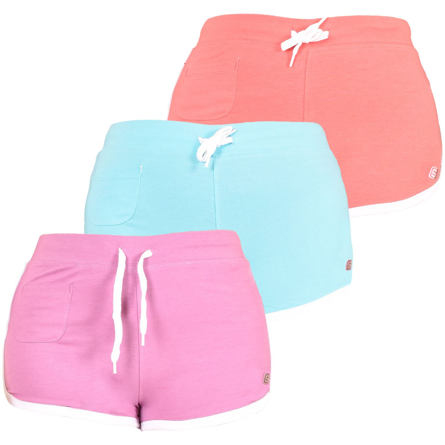Womens Shorts Elasticated Knitted Beach
