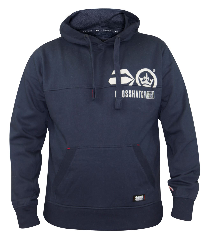 Mens-Crosshatch-Branded-Pullover-Printed-Hoodie-Sweatshirt-Hooded-Top thumbnail 4