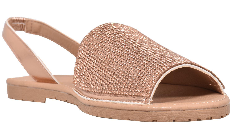 Truffle-Ladies-Menorcan-Sandals-Slingback-Flat-Glitter-Peep-Toe-Spanish-Shoes thumbnail 13