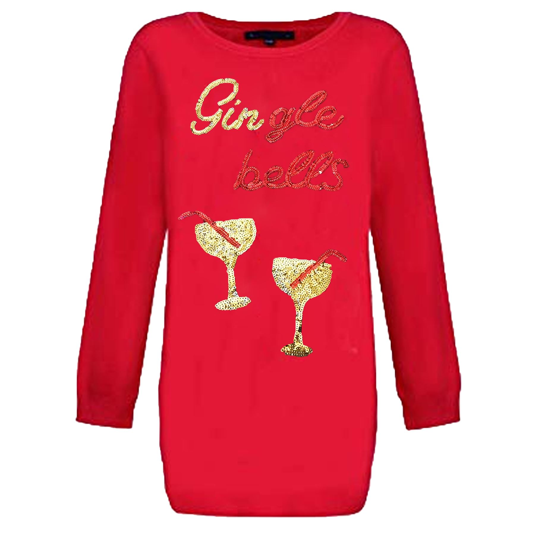 79622bd5b05 Details about Ladies Christmas Novelty Gin Jumper Sequin Sparkly Xmas Top  Womens Tunic Sweater