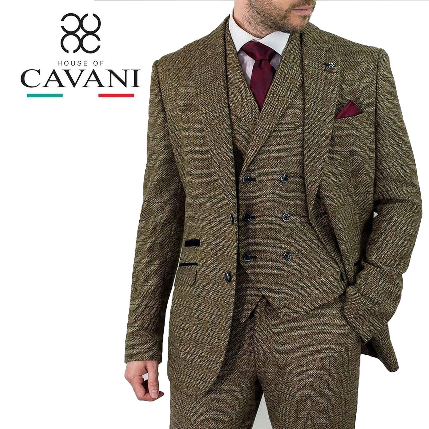 CAVANI Sergio Tan Tweed Carreaux Pantalon