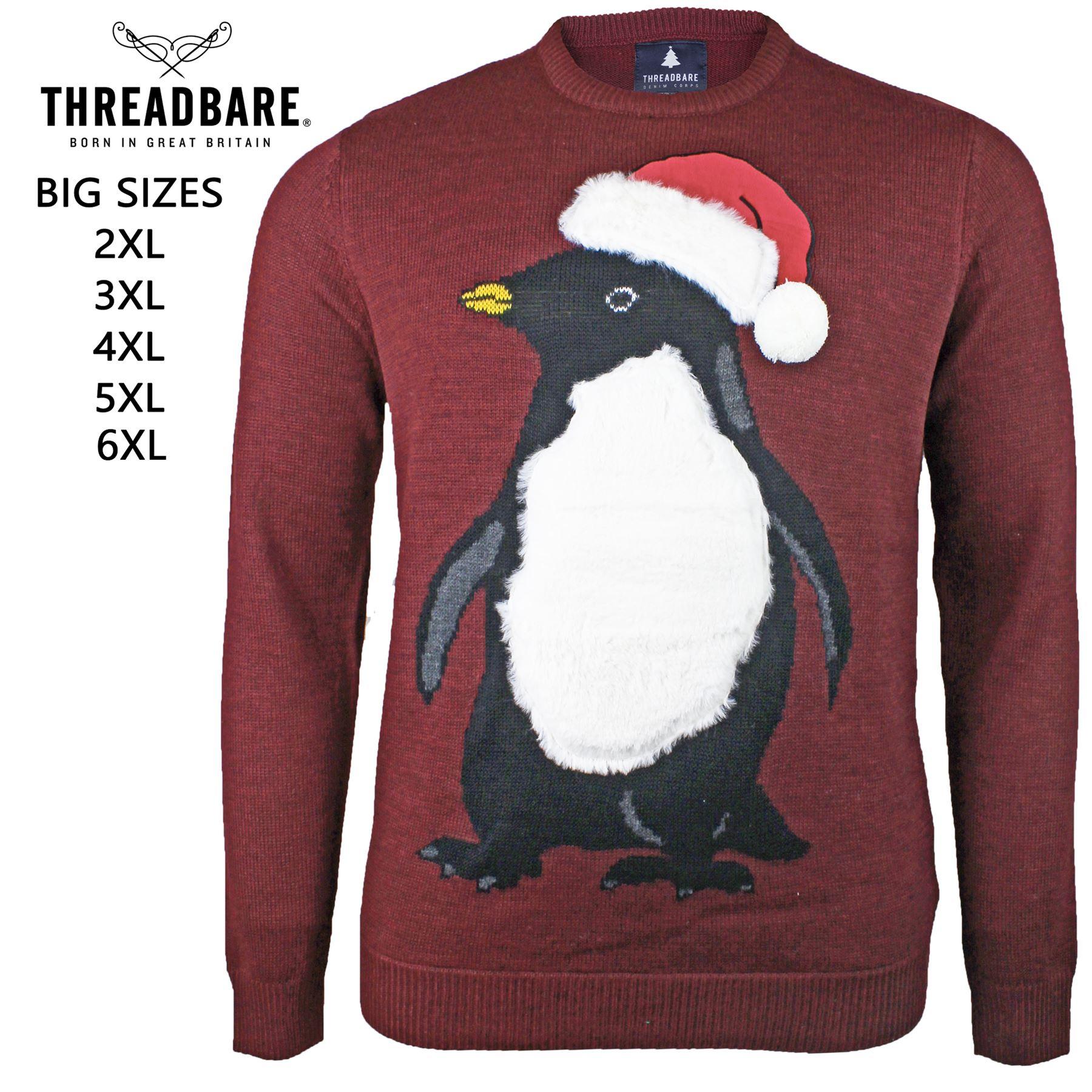 Mens New Xmas Christmas Sweatshirt Sweater Knit Penguin Print Crew Neck