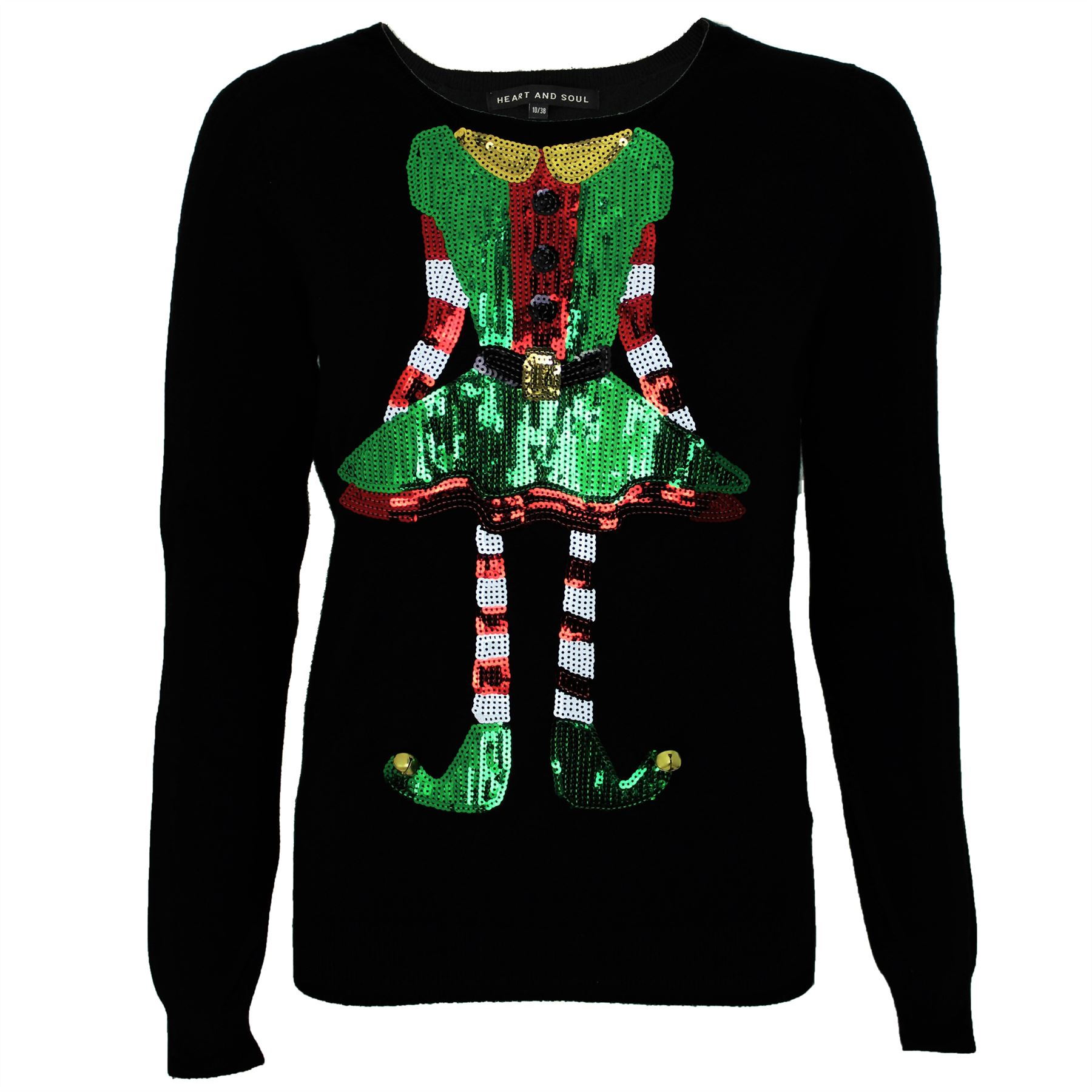 Christmas Top.Details About Womens Ladies Christmas Elf Sequins Xmas Novelty Jumper Top By Heart Soul