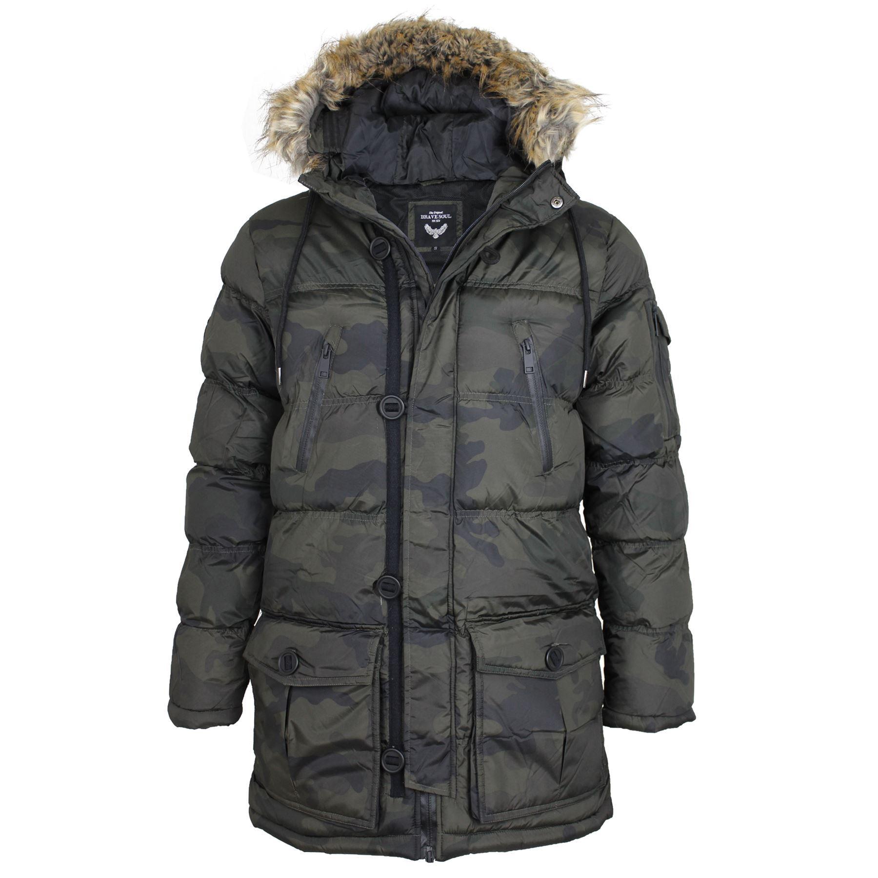 mens brave soul camouflage camo padded fur lined hood. Black Bedroom Furniture Sets. Home Design Ideas