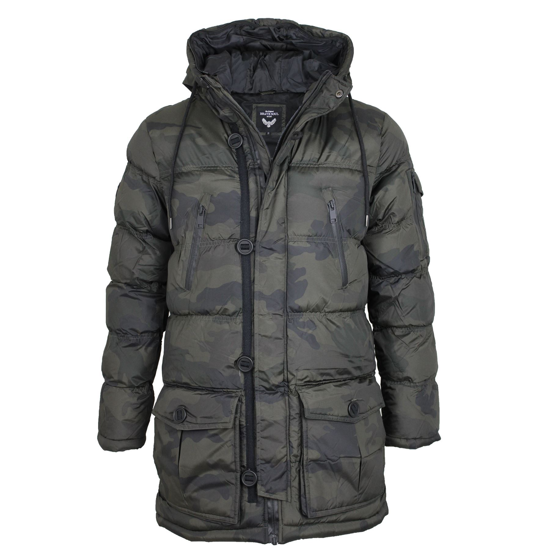 Mens Brave Soul Camouflage Camo Padded Fur Lined Hood Parka Jacket ... 3e7debf1bfc