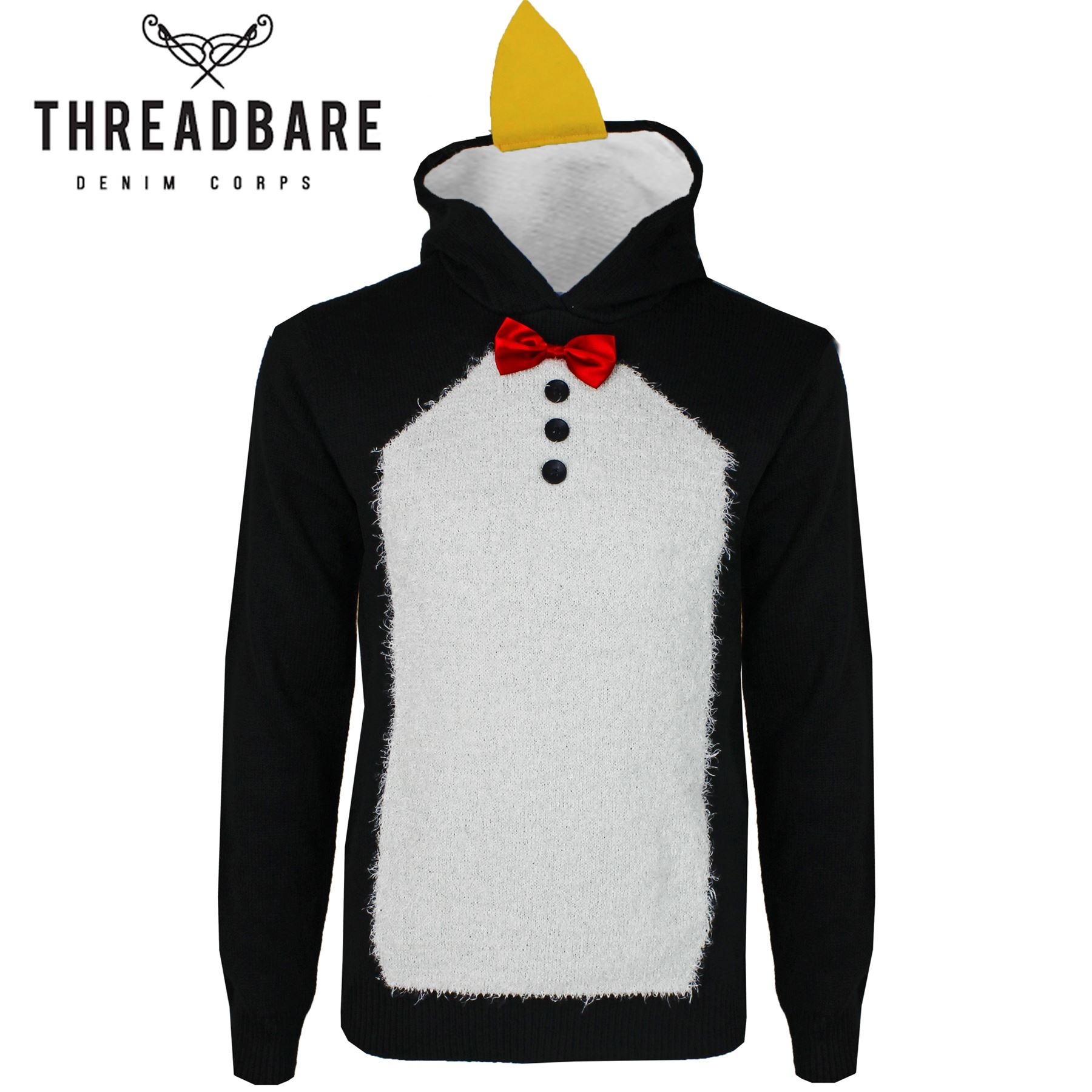 1ef8056c Details about Mens Threadbare Penguin Costume Christmas 3D Jumper Novelty Xmas  Hoodie Sweater
