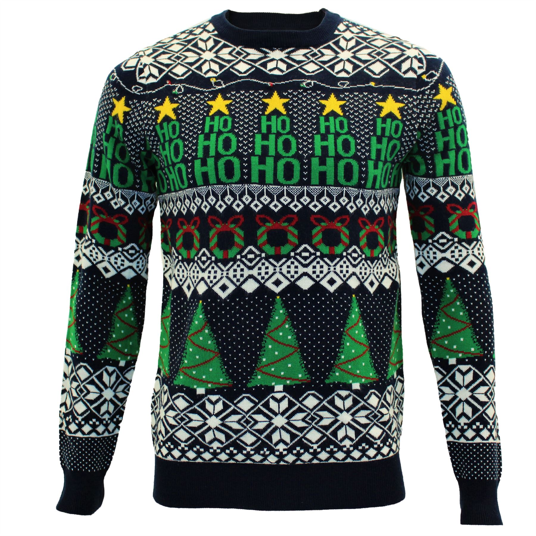 Mens Novelty Light Up Christmas Tree Pullover Jumper Sweater Top By Threadbare