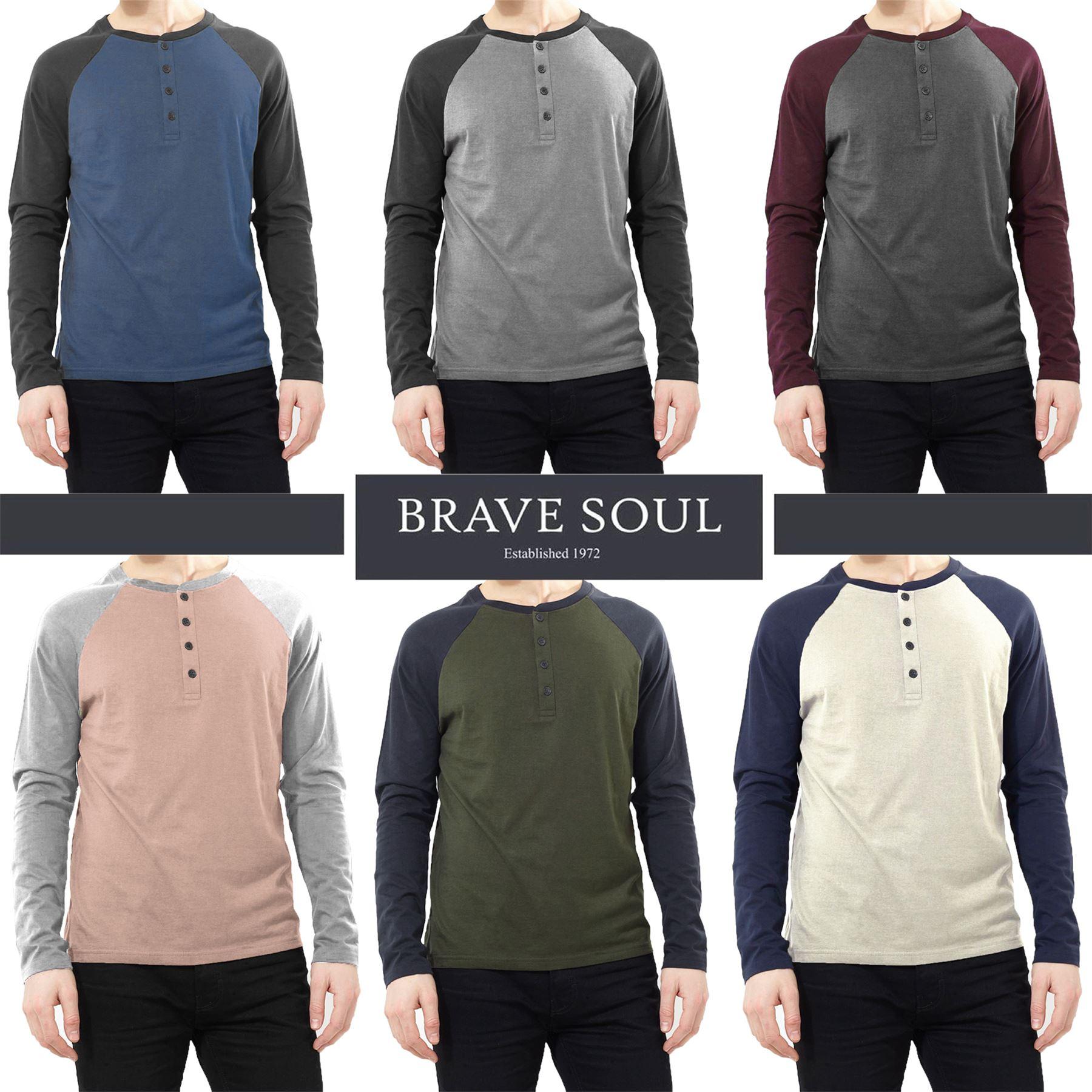 0209f7b2eaf Details about Mens Brave Soul Long Sleeve Buttoned Crew Neck Raglan  Baseball Style T-Shirt Top