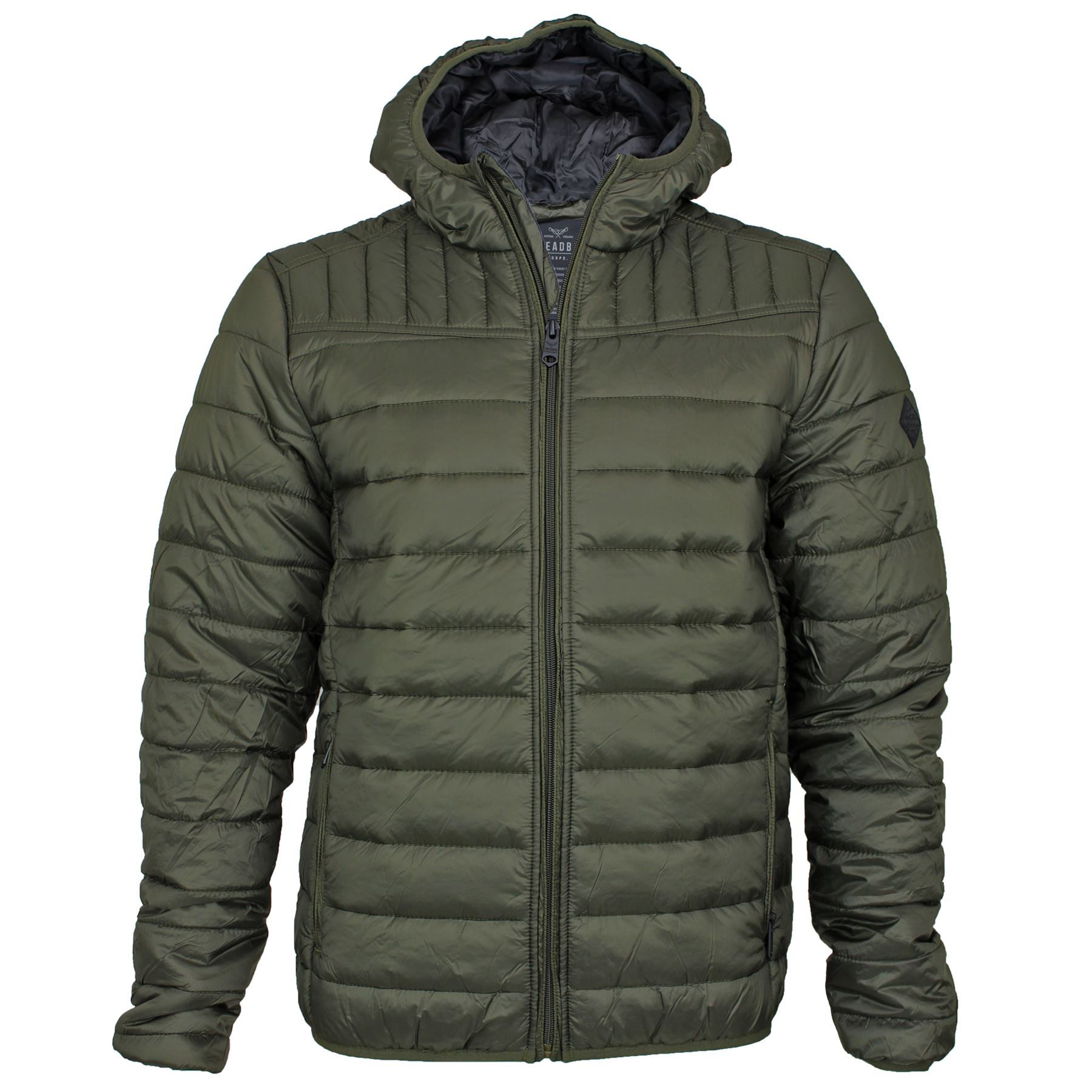 Mens threadbare hooded padded quilted lined puffa jacket for Quilted jackets for men