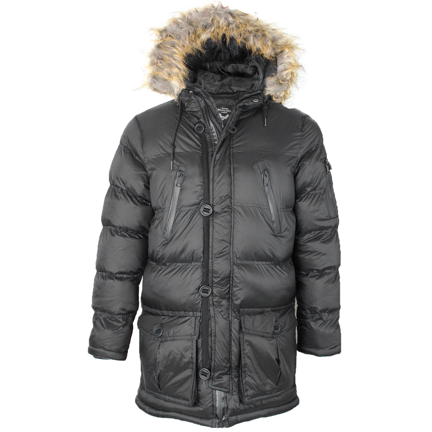 22d6cb3dfa70 Mens Brave Soul Padded Faux Fur Lined Hood Parka Jacket Winter ...