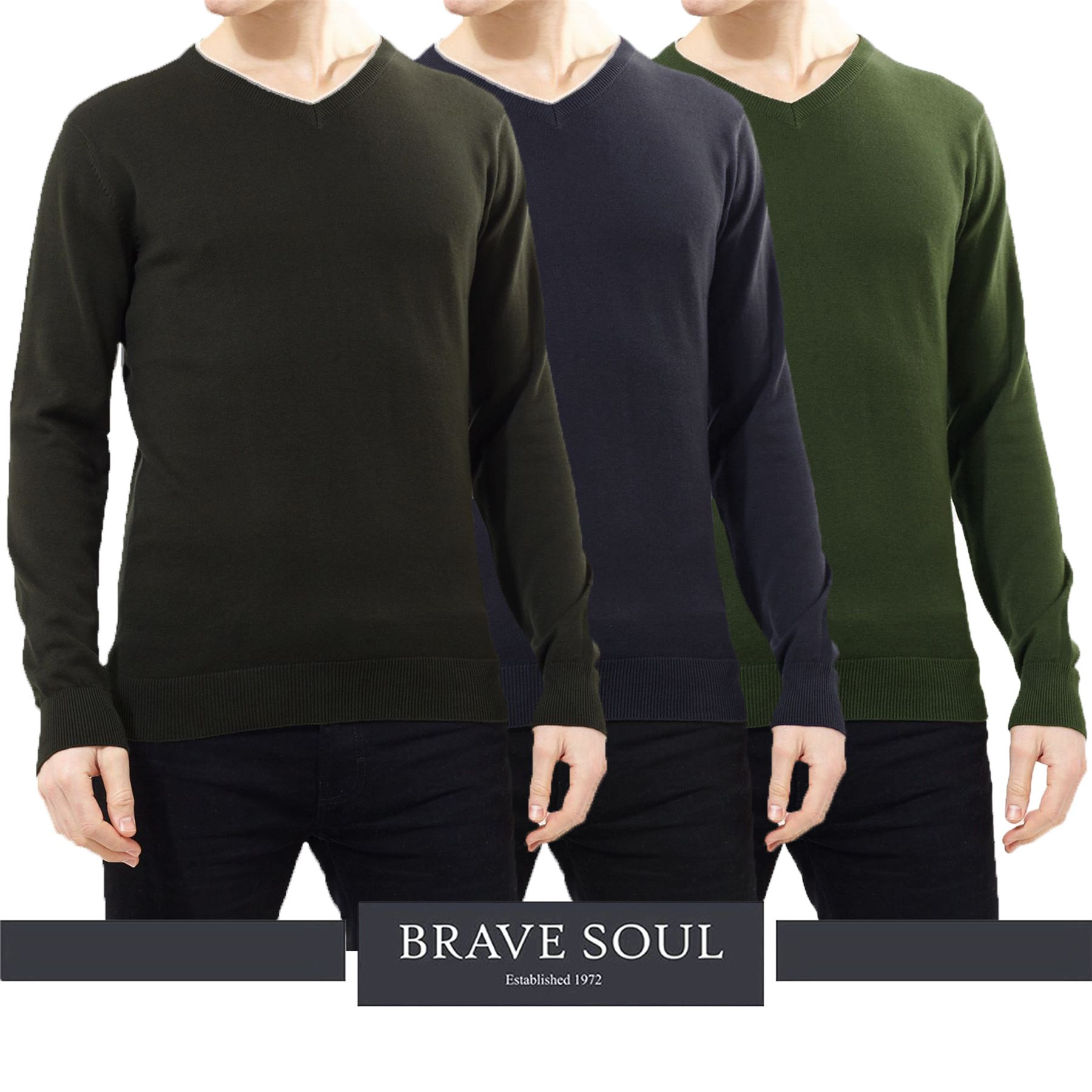1a2cf41807 Details about Mens Brave Soul Long Sleeve Plain Ribbed Trim V Neck Thin  Knit Jumper Sweater