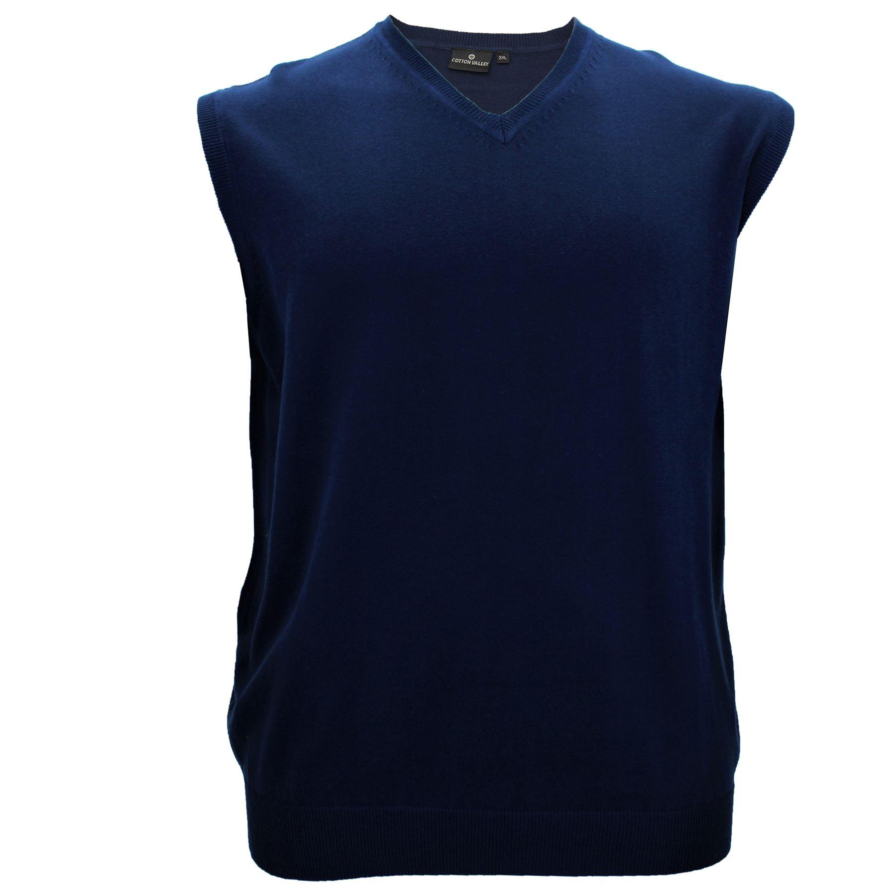 ebfdcb90ef025b Mens Big Size Cotton Valley V-Neck Sleeveless Sweater Vest Jumper ...