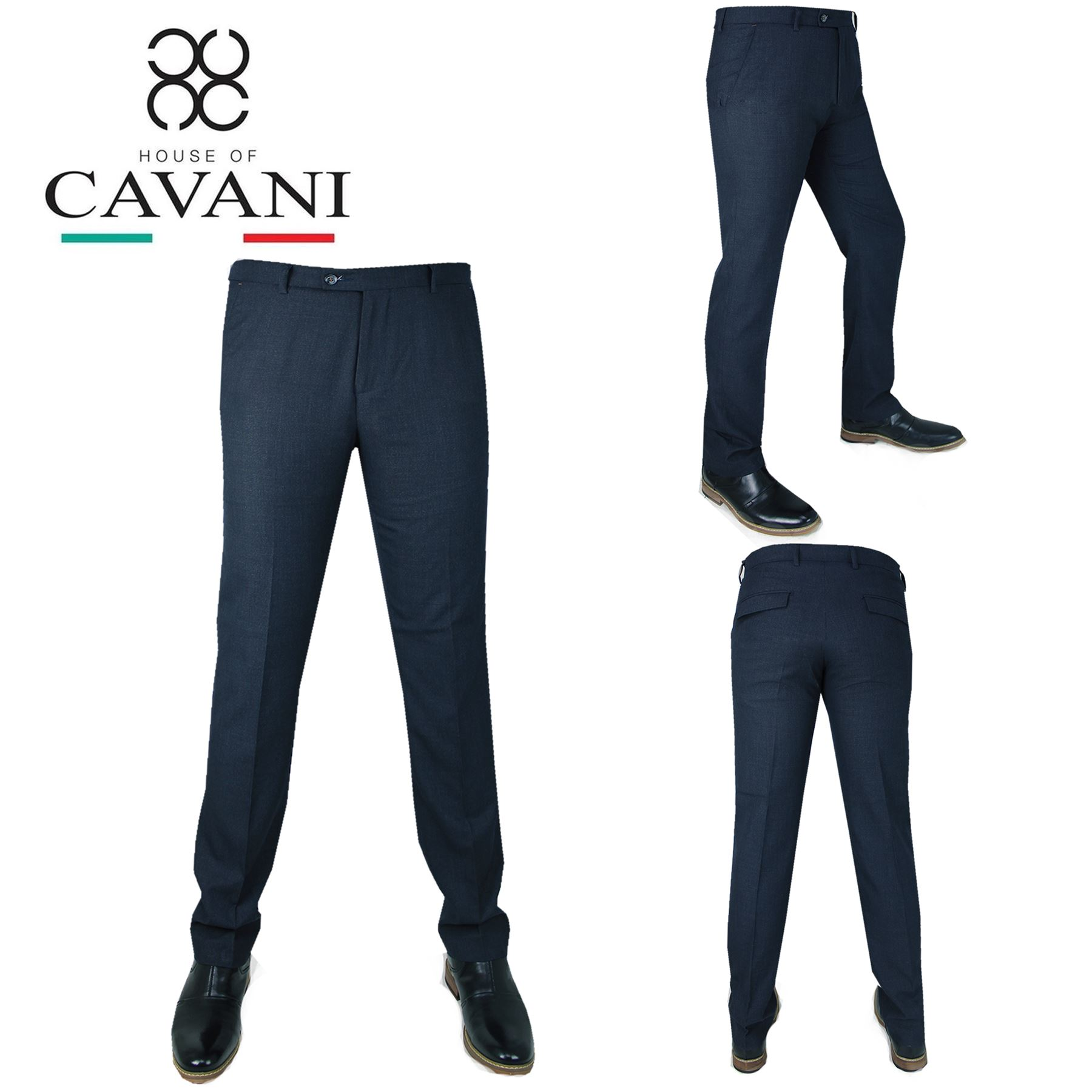 1b718a1214f0d Details about Mens Cavani Smart Formal Casual Plain Navy Pants Regular Fit  Suit Trousers