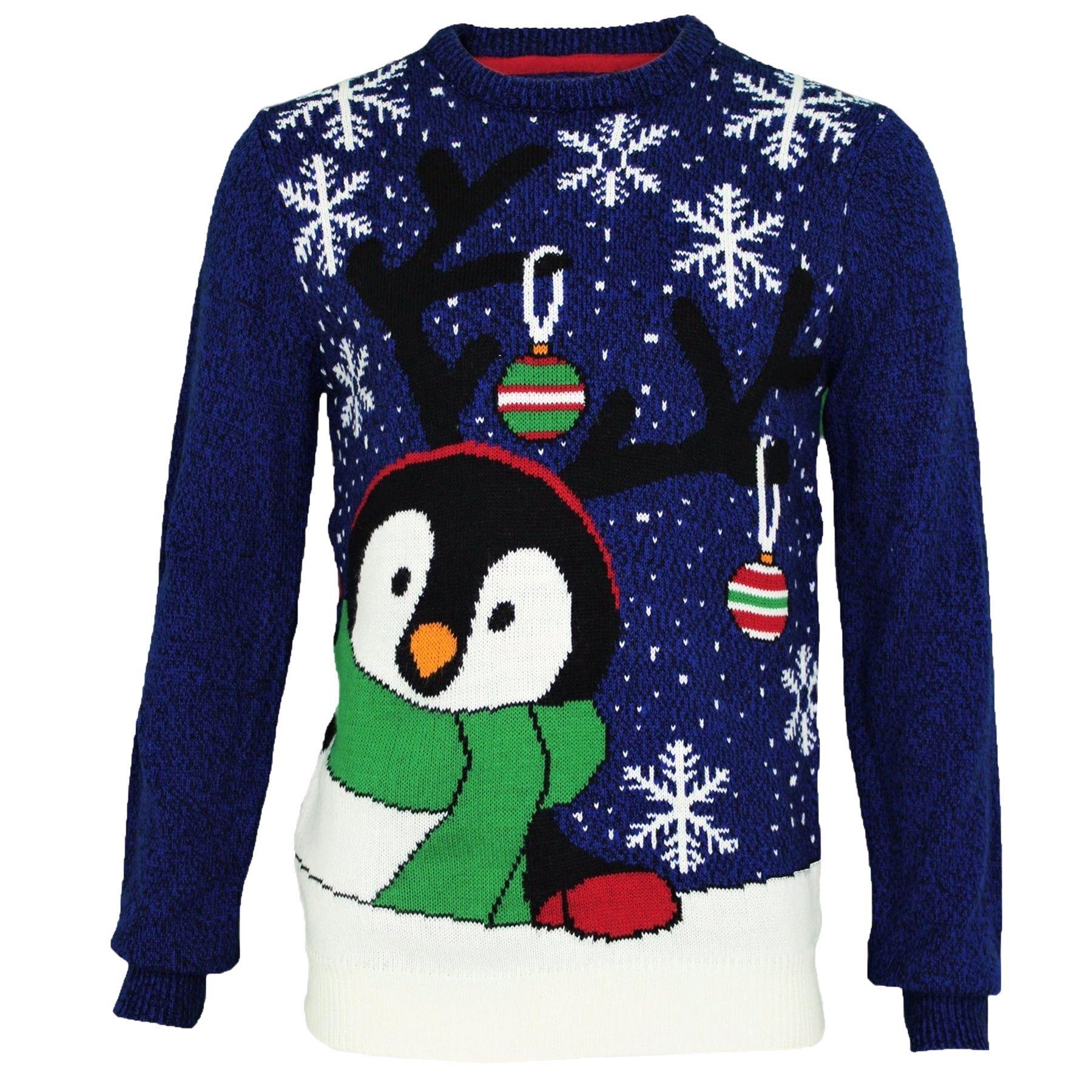 mens threadbare novelty cute peeping penguin christmas jumper