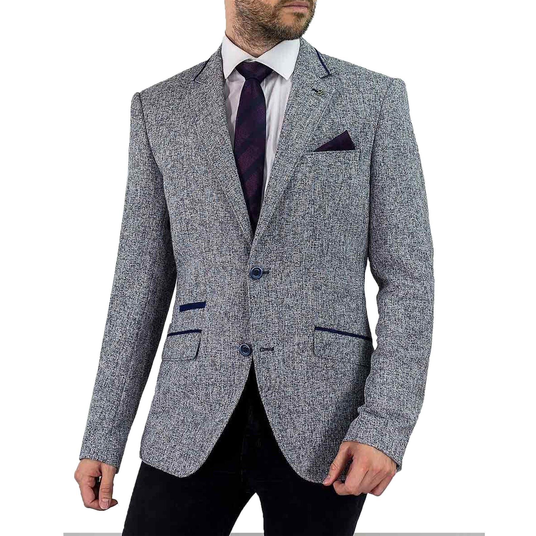 Men's Patches Lapel Blend Colour Blazer Clayton Style Cavani Canvas Grey Jacket Elbow zwz4Cr