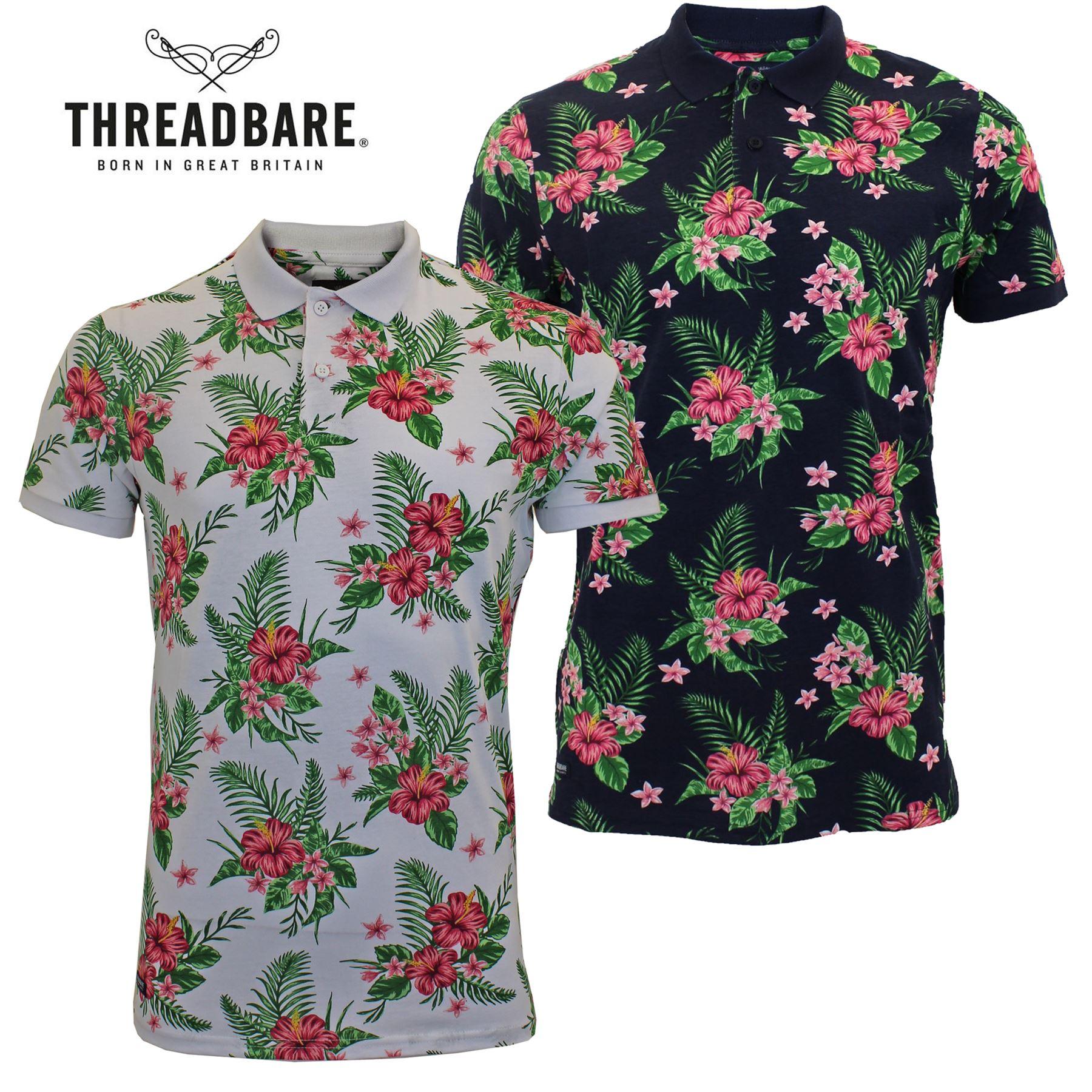 0a3a4d60b5f Mens Threadbare Short Sleeve Cuffed Floral Polo Shirt 100% Cotton Summer T- Shirt