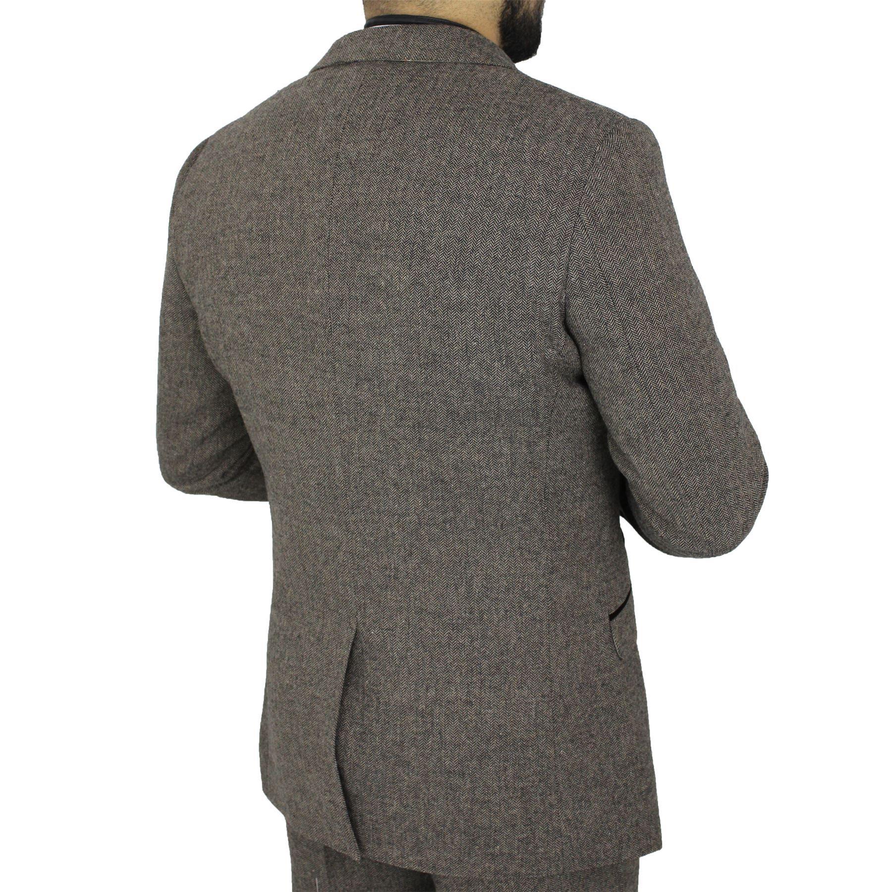 Mens-Cavani-Brown-Tweed-Blazer-Waistcoat-Trouser-3-Piece-Suit-Sold-Separately thumbnail 5