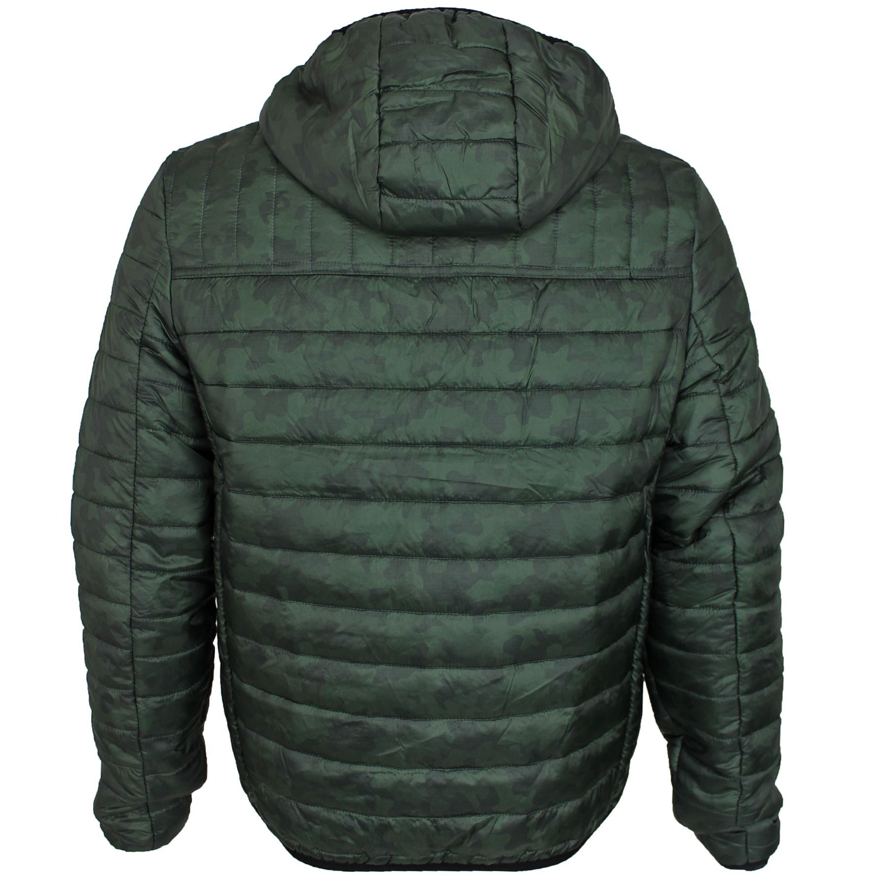 Mens Threadbare Camo Padded Quilted Hooded Puffa Jacket ...